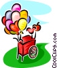 Vector Clip Art graphic  of a balloon cart