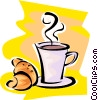 cup of coffee and a croissant Vector Clipart image