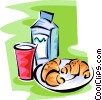 Vector Clipart image  of a milk glass and two croissants