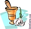 Vector Clipart graphic  of a mortar and pestle with garlic