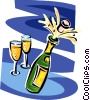 champagne bottle and glasses Vector Clipart illustration