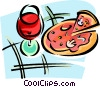 Vector Clip Art image  of a glass of red wine and a pizza