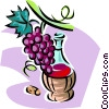 red wine and grapes Vector Clip Art picture