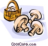 Basket of mushrooms Vector Clipart illustration