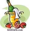 Strawberries and champagne Vector Clip Art image
