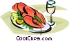 Vector Clipart image  of a Lobster on a plate