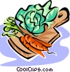 Vector Clip Art graphic  of a vegetables on a cutting board