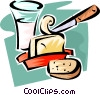 glass of milk, butter and bread Vector Clip Art graphic