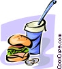 Vector Clipart image  of a hamburger and soda pop