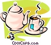Vector Clipart image  of a teapot and cup of tea