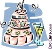 Wedding cake with champagne glasses Vector Clip Art image
