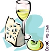 wine and cheese Vector Clip Art image