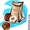 Vector Clip Art graphic  of a bag of donuts