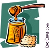Vector Clip Art image  of a honey and a cracker