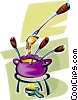 Vector Clipart graphic  of a fondue pot