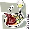 Vector Clip Art graphic  of a roast beef meal and wine