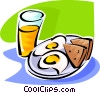 eggs, toast and a glass of orange juice Vector Clipart illustration