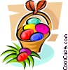 Vector Clipart image  of a Easter eggs in a basket
