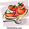 Vector Clip Art graphic  of a stuffed tomatoes