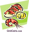 Vector Clip Art graphic  of a shrimp
