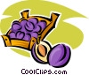Vector Clip Art picture  of a basket of plums