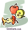 Apples core and sliced apple Vector Clip Art graphic