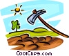 Vector Clipart picture  of a garden hoe