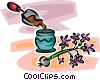 Vector Clip Art graphic  of a planting a flower in a pot