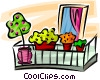 Vector Clipart image  of a flowers in flower boxes on a