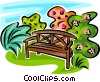 Vector Clipart illustration  of a park bench