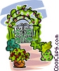 Vector Clip Art graphic  of a garden entrance