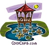 Vector Clipart graphic  of a gazebo in a pond