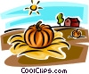 Vector Clip Art image  of a Pumpkin in farmers field