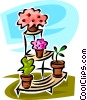 potted plants on a plant stand Vector Clipart image