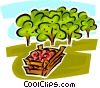 Vector Clip Art image  of an apple orchard