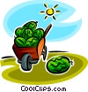 Vector Clip Art graphic  of a watermelon in a wheelbarrow