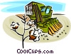 Vector Clip Art graphic  of a cotton picking machine