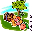 Vector Clipart graphic  of a Basket of apples and an apple