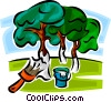 painting trees to avoid insect damage Vector Clip Art graphic