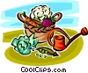 Vector Clip Art graphic  of a basket of vegetables