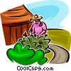 Vector Clipart graphic  of a gardener looking after a shrub