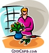 Vector Clipart picture  of a flowers in a pot