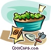 seeds growing into plants Vector Clipart illustration