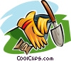 Vector Clip Art image  of a gardening gloves and gardening