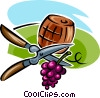 grapes, shears and a wine barrel Vector Clipart illustration