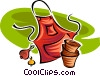 Vector Clipart picture  of a gardening apron and pots