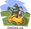 Vector Clipart illustration  of a watering can and gloves