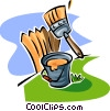 bucket of paint, brush and a fence Vector Clip Art picture