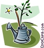 watering can and a tree Vector Clip Art image