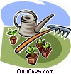 watering can, garden rake and seedlings Vector Clipart picture